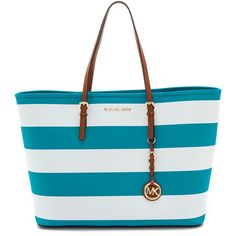 Michael Michael Kors Jet Set Travel Stripe Medium Tote - Summer... ($209) ❤ liked on Polyvore featuring bags, handbags, tote bags, purses, bolsas, accessories, handbags totes, leather tote handbags, summer totes and white leather purse