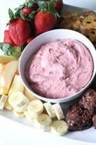 Strawberry Fruit Dip Great For A Fruit Tray 1 package (8 ounces) cream cheese, softened 3/4 cup (6 ounces) strawberry yogurt 1 package (10 ounces) frozen sweetened sliced strawberries, thawed Assorted fresh fruit In a small bowl, beat the cream cheese and yogurt until blended. Add the strawberries beat until well blended. Serve with fresh fruit. Cover and refrigerate leftovers.