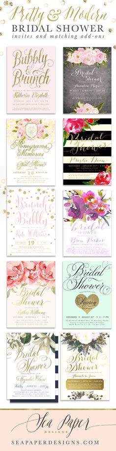 Pretty, Classy & Modern Bridal Shower Invitations, matching add-on items and party games! Personalized just for you for any bridal shower event at Sea Paper Designs Invitations & Stationery. www.seapaperdesigns.com