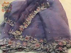 No photo description available. Saree Embroidery Design, Embroidery Fashion, Embroidery Dress, Zardosi Embroidery, Saree Blouse Neck Designs, Blouse Patterns, Fancy Sarees, Party Wear Sarees, Saree Dress