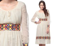 Embroidered Peasant Dress 60s 70s Hippie Boho Sheer by ShopExile, $53.00