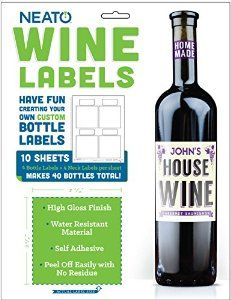 Blank Vinyl Wine Bottle Labels - Water Resistant - Vinyl https://www.amazon.com/gp/product/B00YB3LQZA 40 pack of wine labels for you to customize, works with inkjet printer. Great for wedding, engagement, bridal party, business promotion, school teacher gift, birthday, house party, holiday and more.