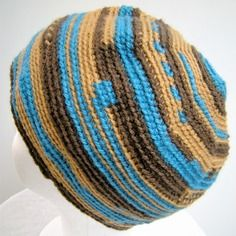 Bonnet pour homme - tons marron et bleu