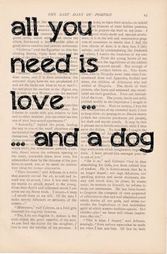 dictionary art vintage ALL YOU NEED is Love... and a Dog print - vintage art book page print - valentines decor dictionary art