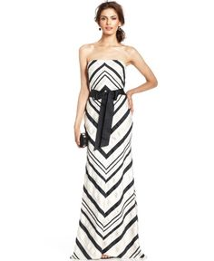 Adrianna Papell Strapless Chevron Stripe Gown   Dress, Frock and Clothing