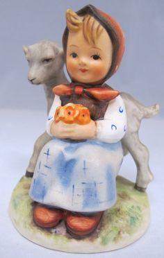 "90: M.J. Hummel Figurine, Girl w/ Goat, 182, West Germany.  ""Goat Girl"""