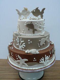 Kissing Fish Sea Themed Wedding cake