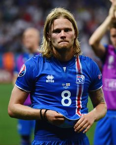 Birkir Bjarnason of Iceland shows his emotion after his team's 21 win after the UEFA EURO 2016 round of 16 match between England and Iceland at. World Football, Football Players, Uefa Euro 2016, 2016 Pictures, Guys, Athletes, England, Hot, Leather