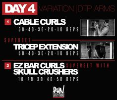 Today you do not need a day off. you just started. DTP Arms: Hey guys, so this is what we call Variation Day. It will change week to week depe Dana Linn Bailey, Workout Days, Biceps Workout, Fit Board Workouts, Gym Workouts, Dana Lynn, Training Plan, Weight Training, Gym Rat
