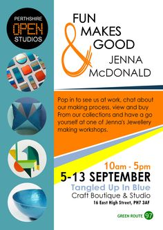 Preparations are in full swing for opening our studio doors for the first time as we take part in Perthshire Open Studios. Joining us for the week is the very talented Fun Makes Good.  10-5pm 5th-13th September Tangled up in Blue Boutique & Studio 16 East High Street, Crieff, PH7 3AF POS number 97 Green route. #Perthshire Open Studios #Boutique #Contemporary Craft