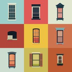 Windows of New York by José Guitar Building Windows, Building Front, Research Images, Design Research, Graphic Design Illustration, Illustration Art, Adobe Animate, Digital Pattern, Vector Design