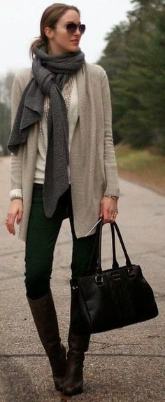 Long Boots With Scarf and Sweater.