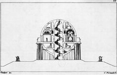 Antoine-Laurent-Thomas-Vaudoyer, House for a Cosmopolitan, Section, 1785