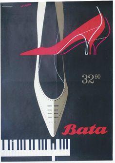 Original vintage poster BATA PIANO LADIES SHOES 1964 | eBay