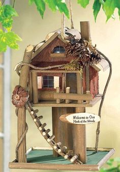 """Trimmed with twisty twigs, pine-cones and a darling rough-hewn ladder this woodsy birdhouse will welcome birds to your """"neck of the woods"""" with this fantastic wooden way-station. Bird House Plans, Bird House Kits, How To Build Abs, Birdhouse Designs, Birdhouse Ideas, Bird Aviary, Kit Homes, Bird Houses, Bird Feeders"""