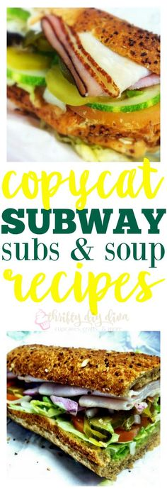 Copycat Subway Sandwich and Soup Recipes Love Subway? Make these Copycat Subway Sandwich Subs and Soup Recipes, and save money by eating at home! I've been making my own version of their oven roasted chicken breast for years, but it& much juicier! Copykat Recipes, Soup Recipes, Chicken Recipes, Cooking Recipes, Cat Recipes, Healthy Chicken, Dishes Recipes, Roasted Chicken Breast, Baguette