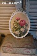 Cadre ancien à noeud , décor quatre roses . Brocante de charme ateliercosy.fr