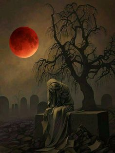 Misery by Blood Moon! ✝Everyone take notice: Jan. there will be a full lunar, (blood moon), eclipse. Gothic Horror, Arte Horror, Horror Art, Dark Fantasy Art, Fantasy Artwork, Dark Gothic Art, Beautiful Dark Art, Images Gif, Arte Obscura