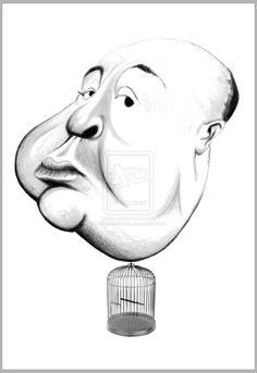 Alfred Hitchcock caricature by diegoabelenda.deviantart.com on @deviantART