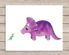 Triceratops and Duck-Billed Friend Art Print, Dinosaur Art, Dinosaur Nursery Art, Baby Dinosaur, Dinosaur Theme, Boy Room Art, Kids Wall Art by JulieAnnStudios on Etsy https://www.etsy.com/listing/226763978/triceratops-and-duck-billed-friend-art