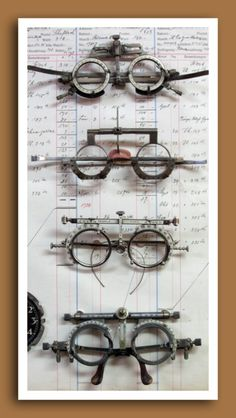 Vintage and antique optometrist's trial lens frames.