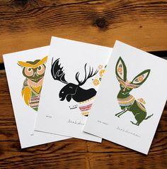 3 Print Set - Moose, Jack Rabbit, Owl 5 x 7. $24.00, via Etsy.
