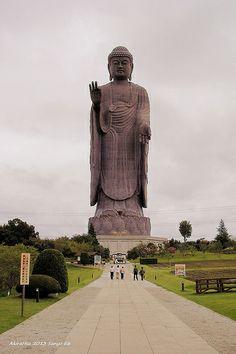 Ushiku Daibutsu in Ibaraki, Japan. One of the tallest statues in the world! Giant People, Meditation Exercises, Ibaraki, Buddha Zen, Buddha Statues, Heaven And Hell, Nihon, Japanese Art, Buddhism