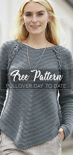 Pullover Day to date – Pattern Crochet – Cute Crochet Crochet Jumper, Crochet Jacket, Crochet Cardigan, Knit Or Crochet, Crochet Stitches, Free Crochet, Crochet Patterns, Crochet Sweaters, Crochet Tops