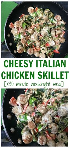 Cheesy Italian Chicken Skillet is the perfect one-pan dinner for any busy weeknight. Packed with vegetables and a simple garlic cheese sauce dinner is ready in less than 20 minutes. New Recipes For Dinner, Healthy Dinner Recipes, Cooking Recipes, Cheese Sauce For Chicken, Skillet Chicken, Cheesy Chicken, One Pan Dinner, Garlic Cheese, Italian Chicken