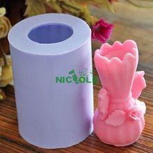 Vase Großhandel Neue 3d silikon kerze form, form für seife handgemachte handwerk kunst kerze lebensmittel form, kerze silikonformen, freies verschiffen(China (Mainland))