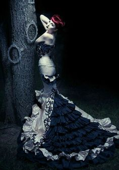 Victorian Gothic Ivory w/Black lace Gown