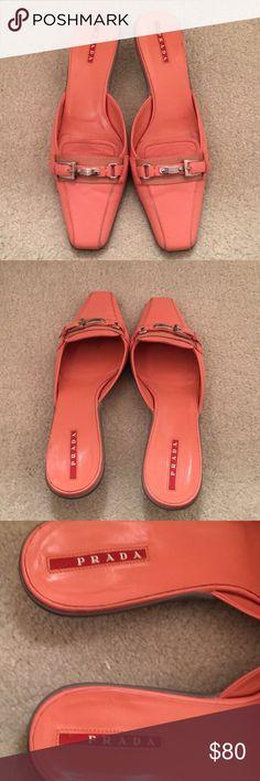 Prada kitten heels Melon color, great condition Prada Shoes Heels
