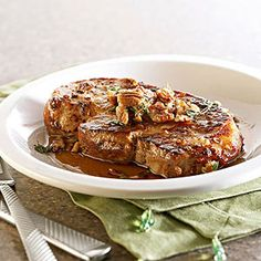 Maple-Thyme Pork Chops This 20-minute dinner recipe features skillet-cooked pork chops drizzled with a light syrup and toasted pecans.