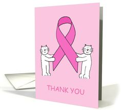 Thank you Breast Cancer pink ribbon support, kittens. card