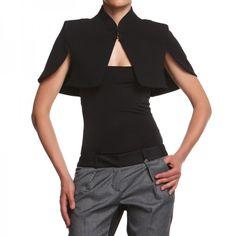 BLACK MANTLE ANNALYSE Shawl with mantle sleeves. http://shop.mangano.com/en/precollection-fw-13-14/16739-mantellina-annalyse-nero.html