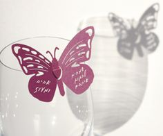 Butterfly decor for wineglass