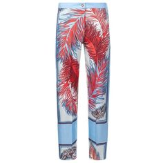 Emilio Pucci Feather Print Silk Trousers ($745) ❤ liked on Polyvore featuring pants, ruffle pants, tailored pants, tailored trousers, slouch trousers and emilio pucci