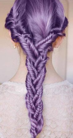 NOT the color---ewwww yucky pooey on that even if purple is my fave color...it was not is God's box of hair color paints ....but the triple herring bones then braided..........wowzer...