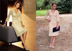 White - black crochet dress inspired by Karen Millen.