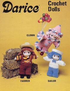 """Vintage Crochet Dolls by Darice, Crochet a Clown, Farmer, and Sailor is a 2-page leaflet with full instructions for crocheting each doll. Please see the Crafts and Supplies section of NookCove for materials. I would suggest using the 3-1/2"""" head with hands. https://www.etsy.com/shop/NookCove?section_id=11870386&page=1  by NookCove, $6.71"""