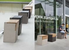 ATELIER VIERKANT | Design In Belgium - concrete stool with wood inset seat