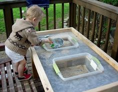"DIY Sand and Water Table..saw something similar for older kids..with little treasures..to pan for ""gold"""