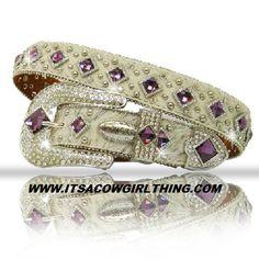 Bone Hair Belt Purple Diamond Rhinestone Belt