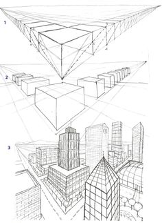 2-Point Perspective City Drawing | ... size as the drawing that is taped on the top to protect the drawing