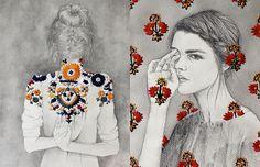 Izziyana Suhaimi mistura em suas ilustrações em aquarelas e lápis, bordados incríveis feitos à mão. São padrões de flores, tapeçaria e estampas coloridas!