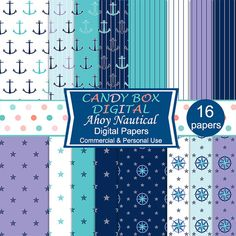 Nautical Digital Paper Anchors and Mariners by CandyBoxDigital. Great for…