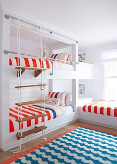 "Beach Cottage with Crisp and Fresh Coastal Interiors - ""Rope Bunk Bed Stair"""