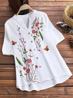Stand Collar Floral Embroidered Short Sleeve Vintage Blouses - All About Embroidered Clothes, Embroidered Shorts, Shirts & Tops, Long Shirts, Clothes For Sale, Clothes For Women, Shirt Embroidery, Floral Embroidery, Refashioned Clothes