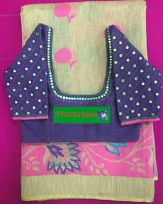 Banaras jute saree with mirror work blouse 7702919644