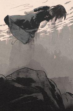 John Wyndham: The Chrysalids  by patrick Leger #floating #illustration #drawing